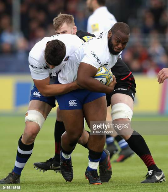 Beno Obano of Bath charges upfield during the Aviva Premiership match between Saracens and Bath Rugby at Allianz Park on April 15 2018 in Barnet...