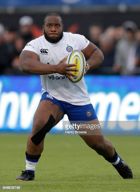 Beno Obano of Bath during the Aviva Premiership match between Saracens and Bath Rugby at Allianz Park on April 15 2018 in Barnet England