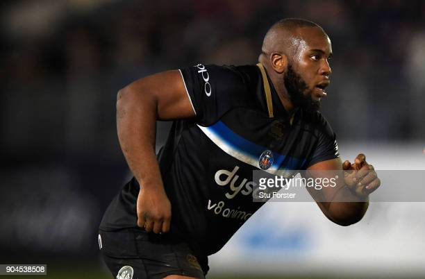 Beno Obano of Bath in action during the European Rugby Champions Cup match between Bath Rugby and Scarlets at Recreation Ground on January 12 2018 in...