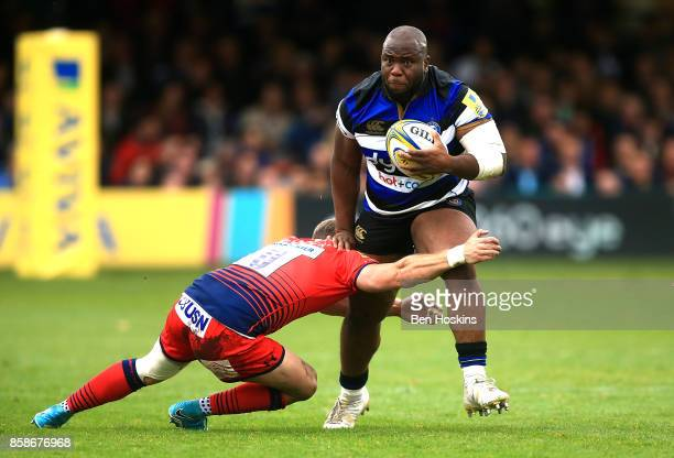 Beno Obano of Bath is tackled by Jamie Shillcock of Worcester during the Aviva Premiership match between Bath Rugby and Worcester Warriors at...