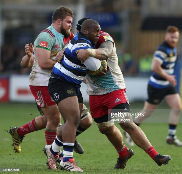 Beno Obano of Bath is tackled during the Aviva Premiership match between Bath Rugby and Harlequins at the Recreation Ground on February 18 2017 in...