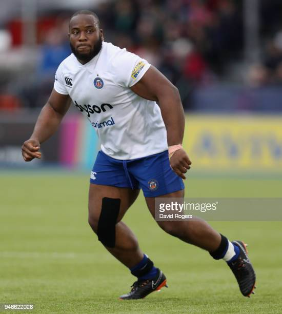 Beno Obano of Bath looks on during the Aviva Premiership match between Saracens and Bath Rugby at Allianz Park on April 15 2018 in Barnet England