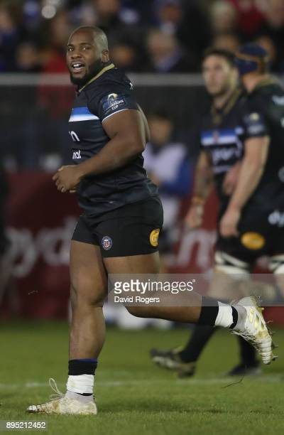 Beno Obano of Bath looks on during the European Rugby Champions Cup match between Bath Rugby and RC Toulon at the Recreation Ground on December 16...