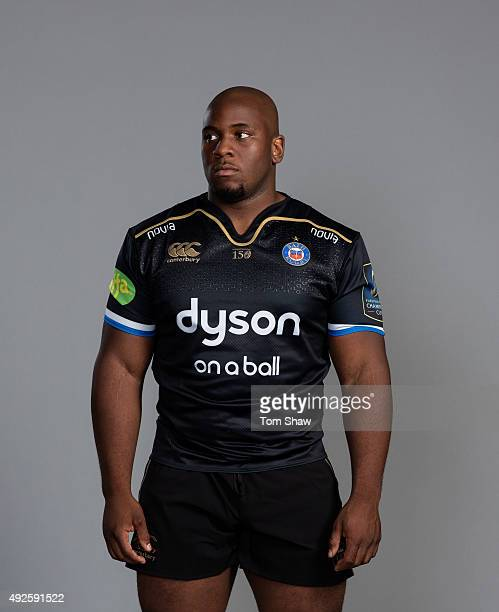 Beno Obano of Bath poses for a picture during the Bath Rugby photocall at Farleigh House on September 8 2015 in Bath England
