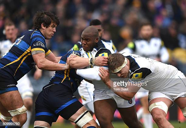 Beno Obano of Bath Rugby in action during the Aviva Premiership match between Worcester Warriors and Bath Rugby at Sixways Stadium on February 13...