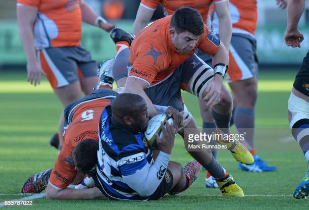 Beno Obano of Bath Rugby is tackled by Harrison Orr of Newcastle Falcons during the AngloWelsh Cup match between Newcastle Falcons and Bath Rugby at...