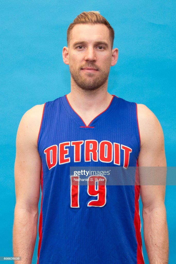 Beno Udrih #19 of the Detroit Pistons poses for a head shot at the Barclays Center on March 21, 2017 in Brooklyn, New York.