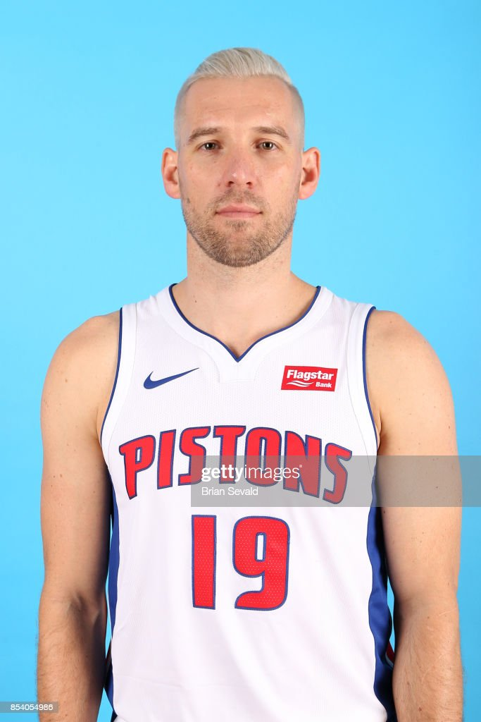 Beno Udrih #19 of the Detroit Pistons poses for a head shot during media day at Little Caesars Arena in Detroit, Michigan on September 25, 2017.