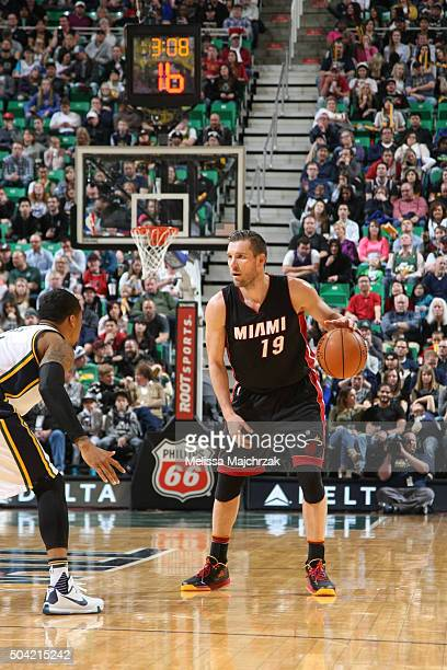 Beno Udrih of the Miami Heat handles the ball against the Utah Jazz on January 9 2016 at vivintSmartHome Arena in Salt Lake City Utah NOTE TO USER...