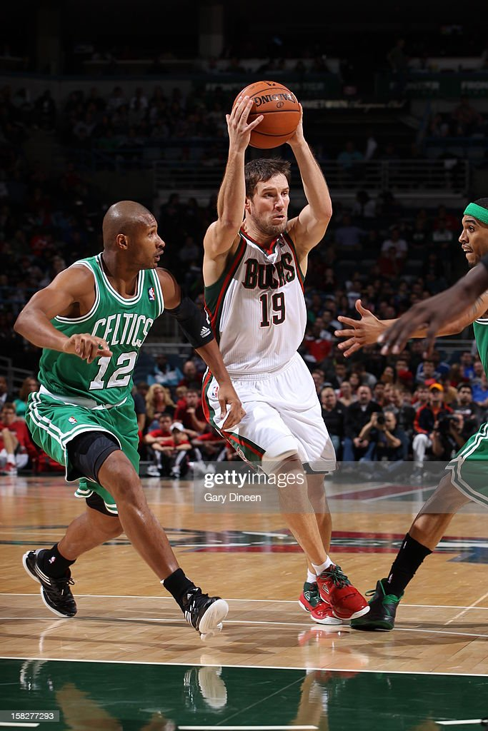 Beno Udrih #19 of the Milwaukee Bucks drives to the basket against the Boston Celtics on November 10, 2012 at the BMO Harris Bradley Center in Milwaukee, Wisconsin.