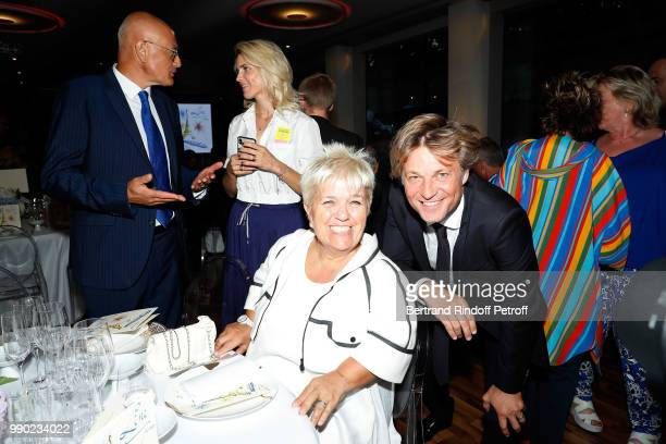 Benoist Gerard Alice Taglioni Mimie Mathy and Laurent Delahousse attend Line Renaud's 90th Anniversary on July 2 2018 in Paris France