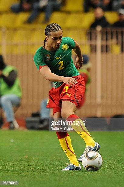 Benoit Assou Ekotto of Cameroon in action during the International Friendly match between Italy and Cameroon at Louis II Stadium on March 3 2010 in...