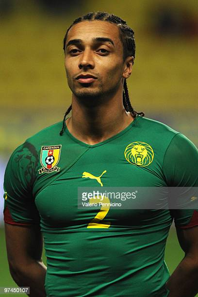 Benoit Assou Ekotto of Cameroon looks on prior to the International Friendly match between Italy and Cameroon at Louis II Stadium on March 3 2010 in...