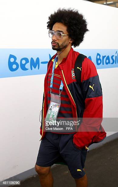 Benoit AssouEkotto of Cameroon arrives at Estadio Nacional prior to the 2014 FIFA World Cup Brazil Group A match between Cameroon and Brazil at...