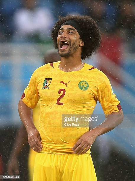 Benoit AssouEkotto of Cameroon reacts during the 2014 FIFA World Cup Brazil Group A match between Mexico and Cameroon at Estadio das Dunas on June 13...