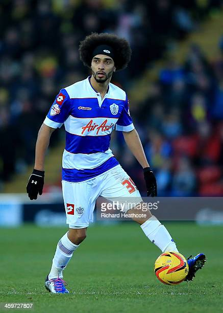 Benoit AssouEkotto of QPR in action during the Sky Bet Championship match between Watford and Queens Park Rangers at Vicarage Road on December 29...