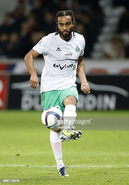 Benoit AssouEkotto of SaintEtienne in action during the French Ligue 1 match between Lille OSC and AS SaintEtienne at Stade Pierre Mauroy on December...