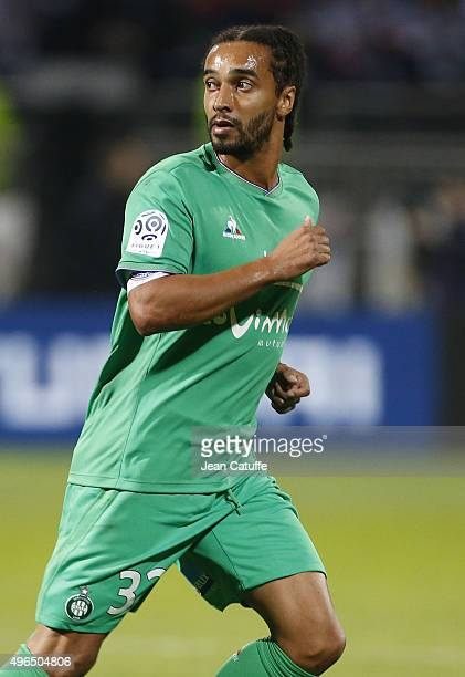 Benoit AssouEkotto of SaintEtienne looks on during the French Ligue 1 match between Olympique Lyonnais and AS SaintEtienne at Stade de Gerland on...