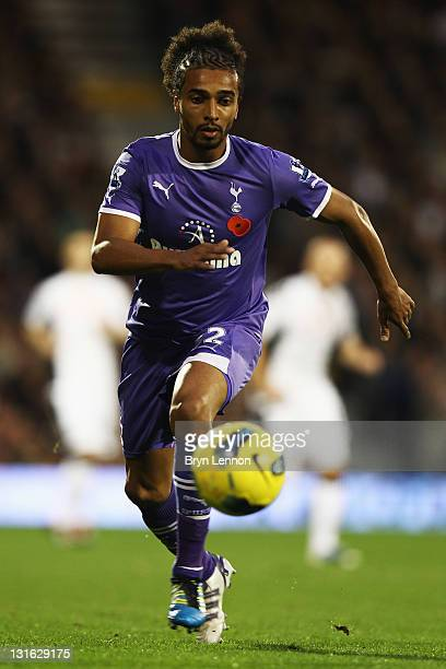 Benoit AssouEkotto of Tottenham Hotspur runs with the ball during the Barclays Premier League match between Fulham and Tottenham Hotspur at Craven...