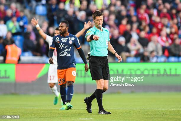 Benoit Bastien Referee means the penalty point during the French Ligue 1 match between Montpellier and Lille at Stade de la Mosson on April 29 2017...