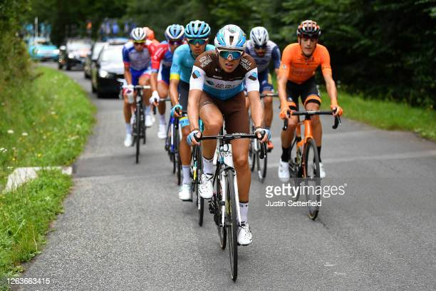 Benoit Cosnefroy of France and Team Ag2R La Mondiale / Harold Tejada Canacue of Colombia and Astana Pro Team / Joan Bou of Spain and Team Fundacion -...