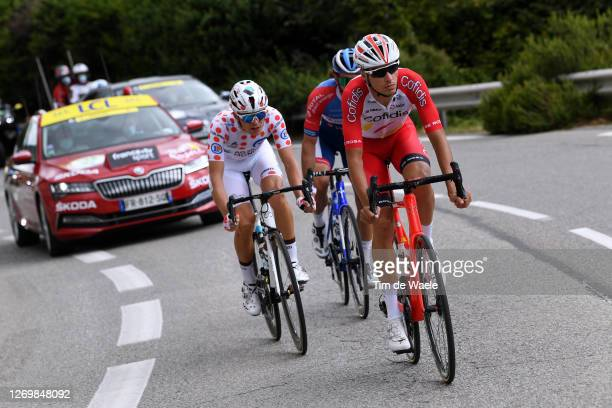 Benoit Cosnefroy of France and Team Ag2R La Mondiale Polka Dot Mountain Jersey / Jerome Cousin of France and Team Total Direct Energie / Anthony...