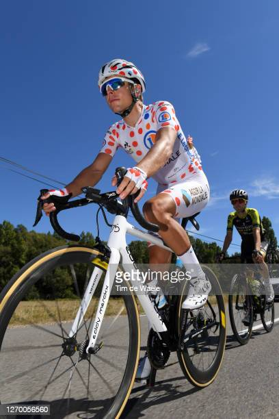 Benoit Cosnefroy of France and Team Ag2R La Mondiale Polka Dot Mountain Jersey / Mikel Nieve Ituralde of Spain and Team Mitchelton - Scott / during...