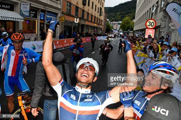 Benoit Cosnefroy of France celebrates after winning the UCI Cycling Road World Championships men's under-23 world road race in Bergen, on September...