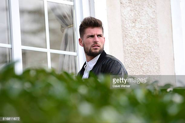 Benoit Costil arrives at the French National Football Team training on the first day of their training ahead of the friendly match against...
