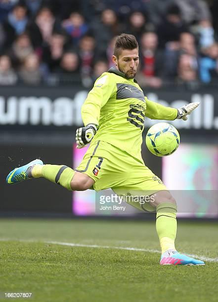 Benoit Costil goalkeeper of Rennes in action during the Ligue 1 match between Stade Rennais and Paris SaintGermain FC at the Stade de la Route de...