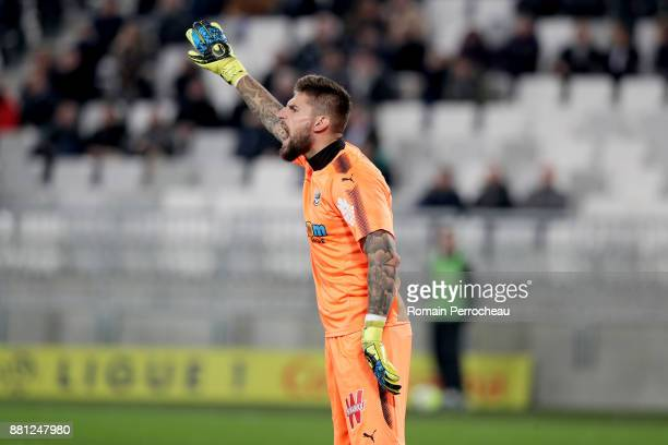 Benoit Costil of Bordeaux gestures during the Ligue 1 match between FC Girondins de Bordeaux and AS SaintEtienne at Stade Matmut Atlantique on...