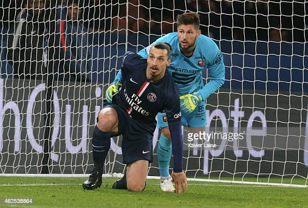 Benoit Costil of Stade Rennais FC and Zlatan Ibrahimovic of Paris SaintGermain during the French Ligue 1 between Paris SaintGermain FC and Stade...