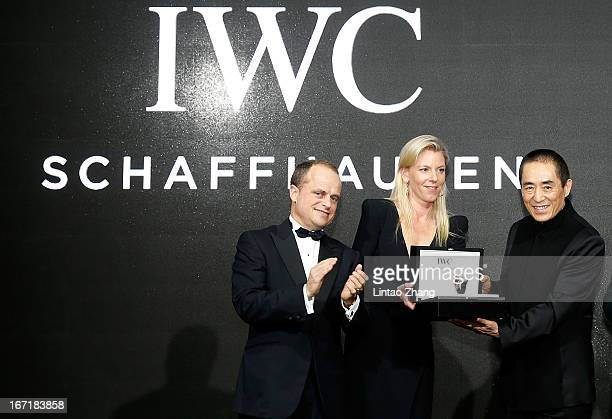 Benoit De Clerck IWC Managing Director Asia Pacific and Karoline Huber IWC Director of Marketing Communications presents the IWC Filmmaker Award to...