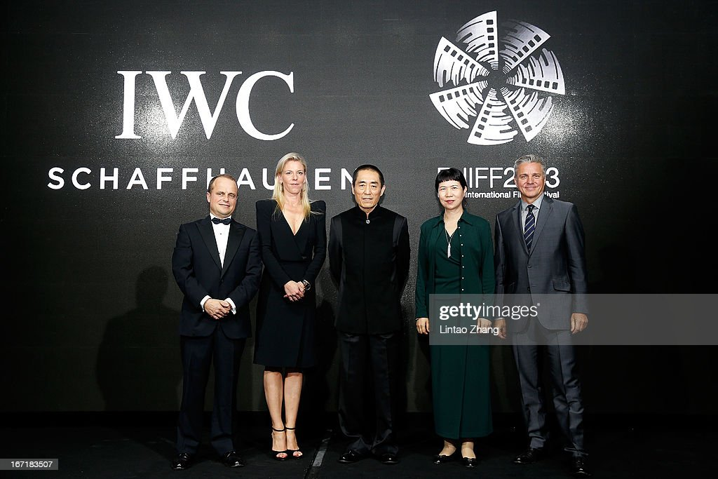 Benoit De Clerck, IWC Managing Director Asia Pacific, Karoline Huber, IWC Director of Marketing & Communications, Chinese film director Zhang Yimou, Zhang Xun, President China Flim Corproduction Corp and Mike Ellis, President Asia Pacific MPA pose at the exclusive 'For the Love of Cinema' event hosted by Swiss watch manufacturer IWC Schaffhausen in the role as new sponsor of the Beijing International Film Festival, at the Ming Dynasty City Wall on April 22, 2013 in Beijing, China.