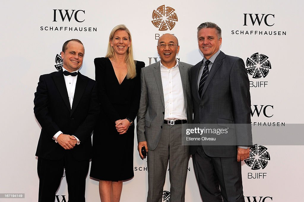 Benoit De Clerck, IWC Managing Director Asia Pacific, Karoline Huber, IWC Director of Marketing & Communications, William Feng and Mike Ellis, President Asia Pacific MPA attend the exclusive 'For the Love of Cinema' event hosted by Swiss watch manufacturer IWC Schaffhausen in the role as new sponsor of the Beijing International Film Festival, at the Ming Dynasty City Wall on April 22, 2013 in Beijing, China.