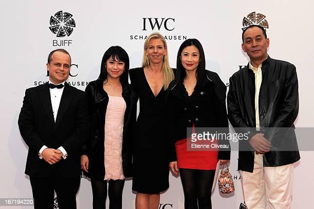 Benoit De Clerck, IWC Managing Director Asia Pacific, Karoline Huber, IWC Director of Marketing & Communications and actor Zhang Guangbei attend the...