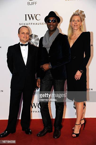 Benoit De Clerck, IWC Managing Director Asia Pacific , singer Aloe Blacc and Karoline Huber, IWC Director of Marketing & Communications attend the...