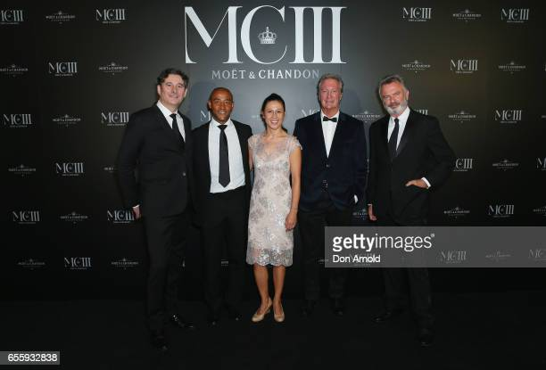 Benoit Gouez George GreganErica Gregan Bryan Brown and Sam Neill arrive ahead of the Moet Chandon MCIII Launch at Sydney Opera House on March 21 2017...