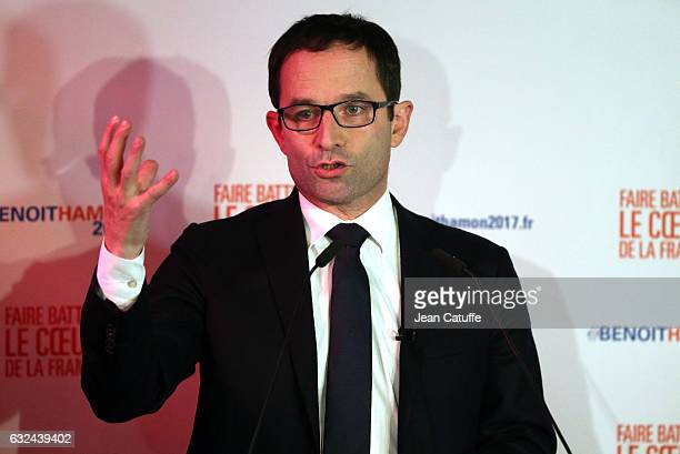 Benoit Hamon delivers a speech after winning leftwing primary's first round ahead of the French 2017 presidential election at Peniche Le Quai on the...