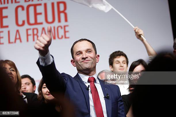 Benoit Hamon delivers a speech two days before leftwing primary's second round ahead of the French 2017 presidential election on January 27 2017 in...