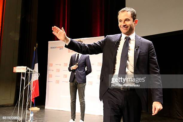Benoit Hamon former French Education Minister and candidate in the left wing primaries ahead of France's 2017 presidential election gestures during...