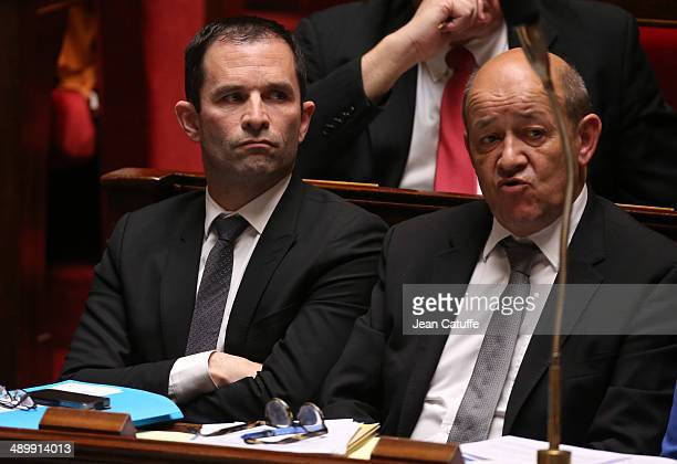 Benoit Hamon french Minister of Education and JeanYves Le Drian french Minister of Defence participate at the Questions to the Government at the...