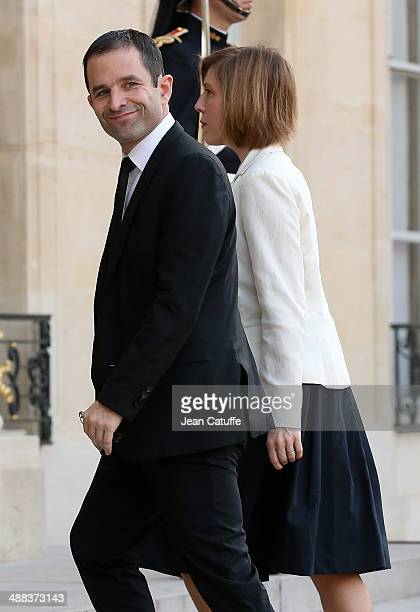 Benoit Hamon french Minister of Education arrives at the State Dinner honoring Japanese Prime Minister at Elysee Palace on May 5 2014 in Paris France