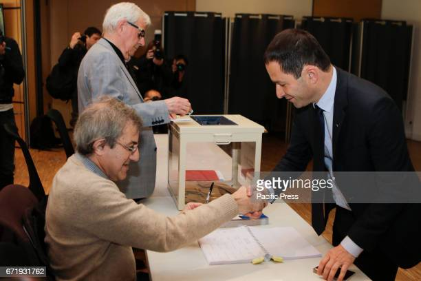 Benoit Hamon greets an election official The Socialist Party Presidential candidate Benoit Hamon has cast his vote two hours after the opening of the...