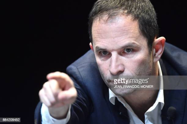 Benoit Hamon leader of the leftwing political movement 'First of July movement' gestures before delivering a speech during a public meeting at the...