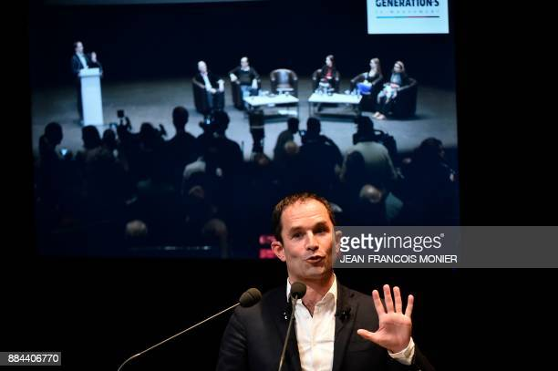 Benoit Hamon leader of the leftwing political movement 'First of July movement' speaks after revealing the new name of his movement 'Generations'...