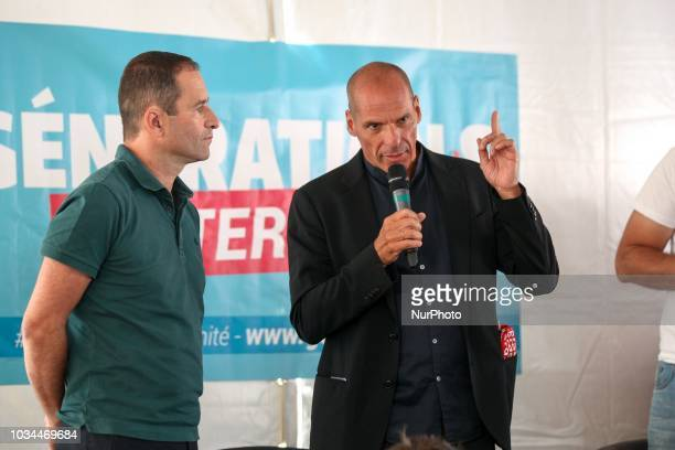 Benoit Hamon leader of the leftwing political movement Generations speaks with Former Greek finance minister Yanis Varoufakis during the Festival of...