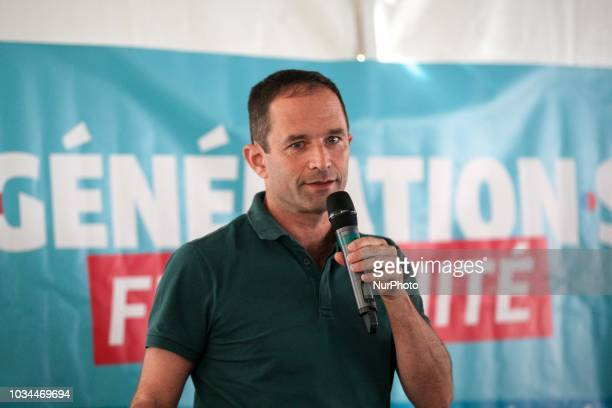 Benoit Hamon leader of the leftwing political movement Generations takes part in a debate during the Festival of Humanity a political event and music...
