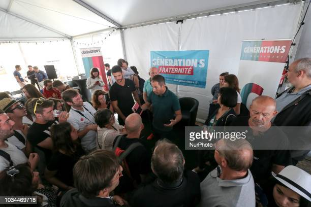 Benoit Hamon leader of the leftwing political movement Generations speaks with supporters during the Festival of Humanity a political event and music...