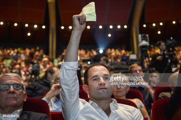 Benoit Hamon leader of the leftwing political movement Generations takes part in a vote of the movement's charter during the Generations founding...